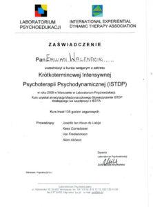 Certyfikat z zakresu Krótkoterminowe Intensywnej Psychoterapii Psychodynamicznej