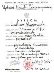 Dyplom Psychologii z zakresu Psychologii Klinicznej i Osobowości